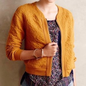 Anthropologie Yellow Quilted Bomber Jacket